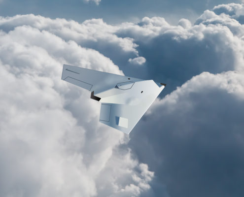 Drone flying over clouds