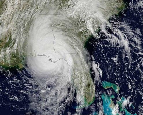 An image of Hurricane Michael making landfall October 11, 2018. Photo courtesy of NASA.
