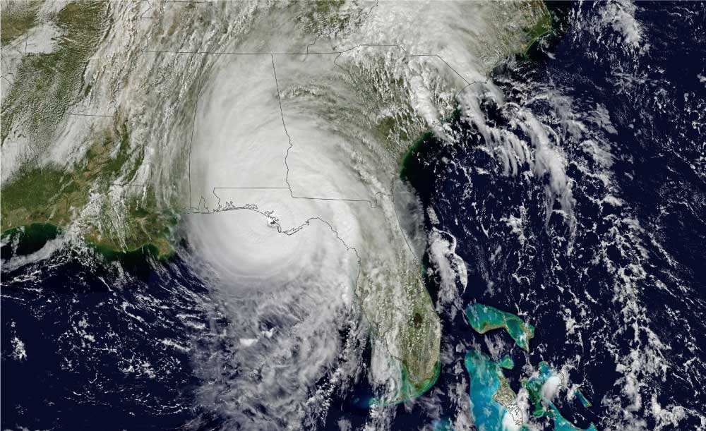 An image of Hurricane Michael making landfall October 11, 2018. Photo courtesy of NASA.